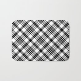 Black and White Plaid Pattern Bath Mat