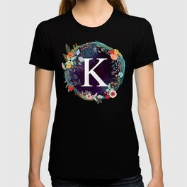 Personalized Monogram Initial Letter K Floral Wreath Artwork T-shirt