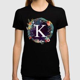Personalized Monogram Initial Letter K Floral Wreath Artwork T-shirt