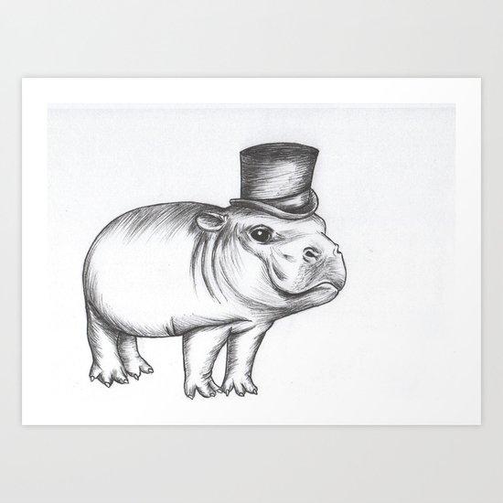 Gentleman Hippo Art Print