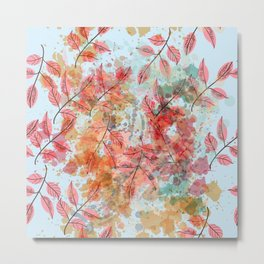Watercolor autum foliage on blue Metal Print