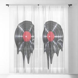Melting vinyl / 3D render of vinyl record melting Sheer Curtain