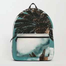 Lush Palm {1 of 2} / Teal Blue Sky Tree Leaves Art Print Backpack