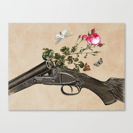 One Gun, One Rose, Two Moths Canvas Print