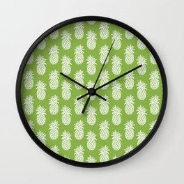 Greenery inspired Sketchy Pineapples Wall Clock