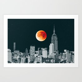 Blood Moon over New York City Skyline Art Print