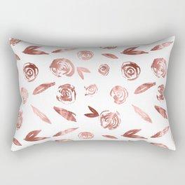 Rose Gold Roses Rosette Pattern Pink on White Rectangular Pillow