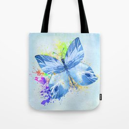 Blue Butterfly Watercolor Rainbow And Gold Tote Bag