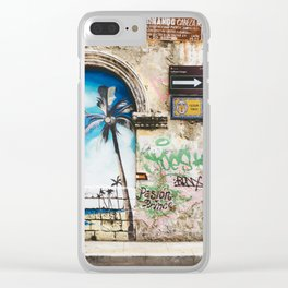 Cartagena, Colombia Street Art - Palm Trees Clear iPhone Case