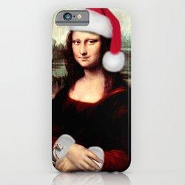 Mona Lisa Wearing a Santa Hat iPhone Case