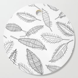 Feather Leaves in Black White Cutting Board