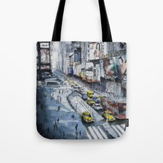 Time square - New York City - Illustration watercolor painting Tote Bag