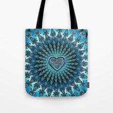Celtic Heart Knot Fractal Mandala Tote Bag