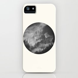 Mid Century Modern Round Circle Photo Graphic Design Foggy Black & White Pine Forest iPhone Case