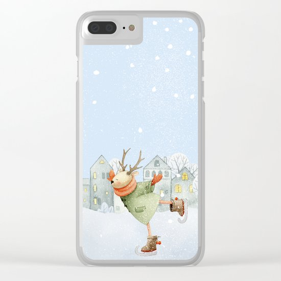 Merry christmas- Ice skating Deer and squirrel are having Winter fun Clear iPhone Case