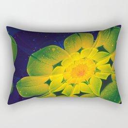 Fresh Blue, Green, and Yellow Fractal GerberaDaisy Rectangular Pillow