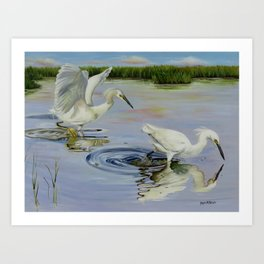 Snowy Egret Hunting Party Art Print