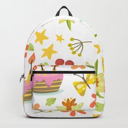 Cake, Birthday Cake and Flowers Backpack