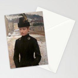 Émile Friant - Young Woman of Nancy in a snowy Landscape - Jeune Nancéienne dans un paysage de neige Stationery Cards
