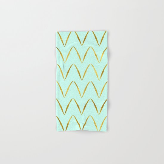 Mint Gold Foil 05 Hand & Bath Towel