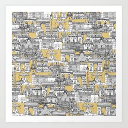 Paris toile gold Art Print