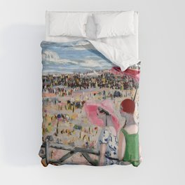 The Grande Beach at Biarritz, France coastal seaside landscape painting by Jacqueline Marval Duvet Cover