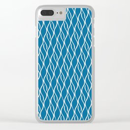 Blue Wavy Stripes Clear iPhone Case