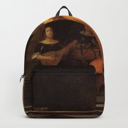 Pieter de Hooch - An Elegant Company Making Music in a Vestibule, with a View of a City Backpack