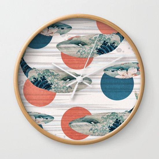 Whales and Polka Dots Wall Clock