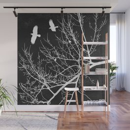 Crows Flying Over Trees Negative Silhouette Wall Mural