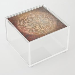 Antic Chinese Coin on Distressed Metallic Background Acrylic Box