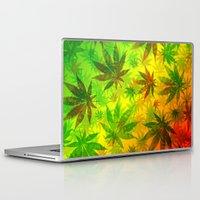 marijuana Laptop & iPad Skins featuring Marijuana Leaves Rasta Colors by BluedarkArt
