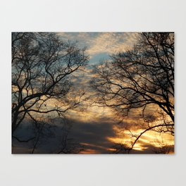 Sunset, Clouds, and Tree Silhouettes Canvas Print