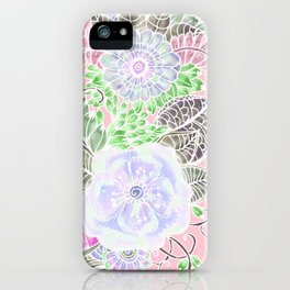 Blush pink lavender green white watercolor flowers iPhone Case