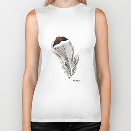 Bohemian Brown Tipped Chicken Feather Painting Biker Tank