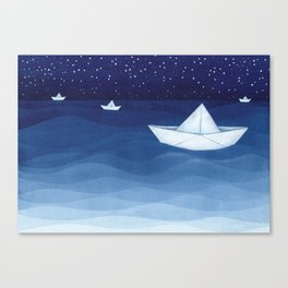 Paper boats illustration Canvas Print