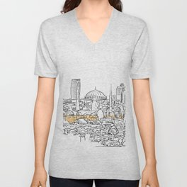 Modern and old Istanbul panorama drawing Unisex V-Neck