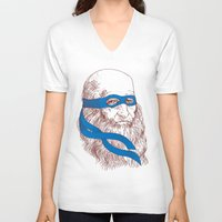 leonardo V-neck T-shirts featuring Leonardo by Fresco Umbiatore