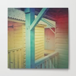 Beach Huts 41B - Retro Metal Print