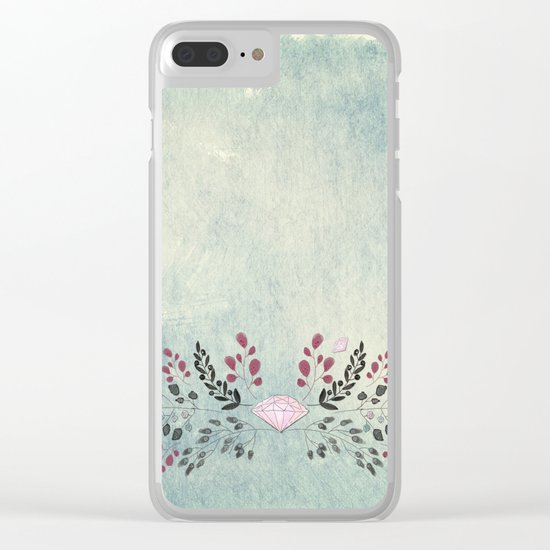 Diamond and flowers - Floral Flowers watercolor illustration Clear iPhone Case