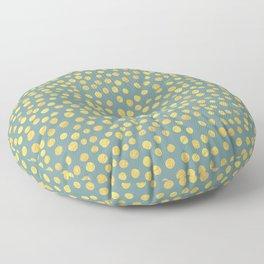 DOT PATTERN - blue and gold Floor Pillow