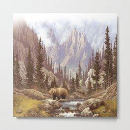 Grizzly Bear Landscape Metal Print