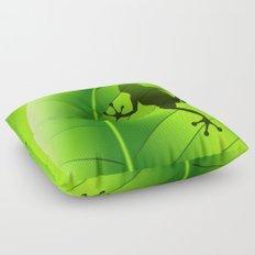 Frog Shape on Green Leaf Floor Pillow