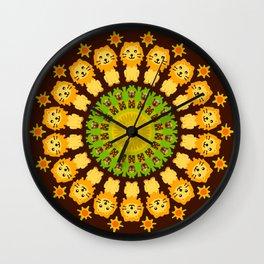 Lovable Lion and Laughing Hyena Mandala Design Wall Clock