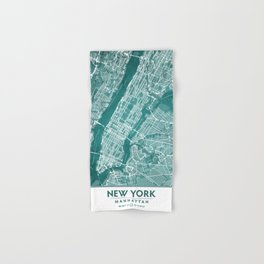 Turquoise Teal Wall Art Showing Manhattan New York City, Brooklyn and New Jersey Hand & Bath Towel