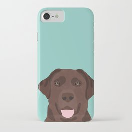 Chocolate Lab dog breed portrait pet art dog lover gifts labrador retriever iPhone Case