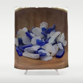 Cobalt and White Sea Glass Shower Curtain