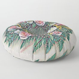 Rose Ring in pink, white, yellow and green Floor Pillow