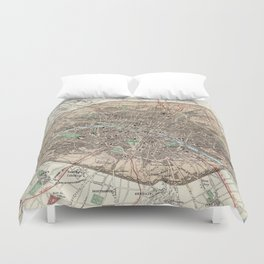 Vintage Map of Paris France (1872) Duvet Cover
