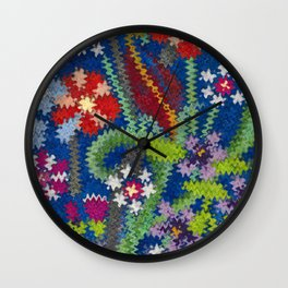 Starry Floral Felted Wool, Blue Wall Clock